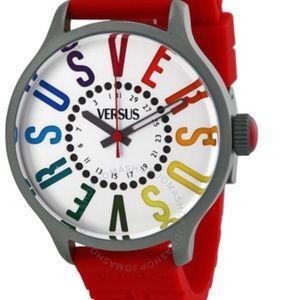 Red Versus Versace Calendar quartz rubber watch
